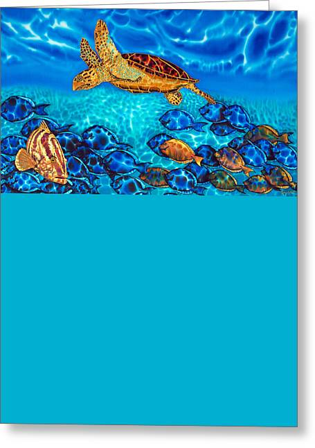 Print On Canvas Tapestries - Textiles Greeting Cards - Sea Turtle Greeting Card by Daniel Jean-Baptiste