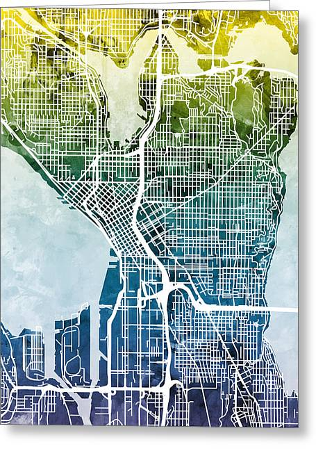 Seattle Washington Street Map Greeting Card by Michael Tompsett