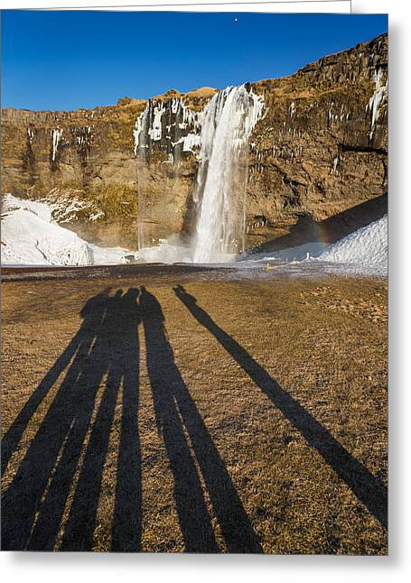 Seljalandsfoss Waterfall In The Winter Greeting Card by Panoramic Images