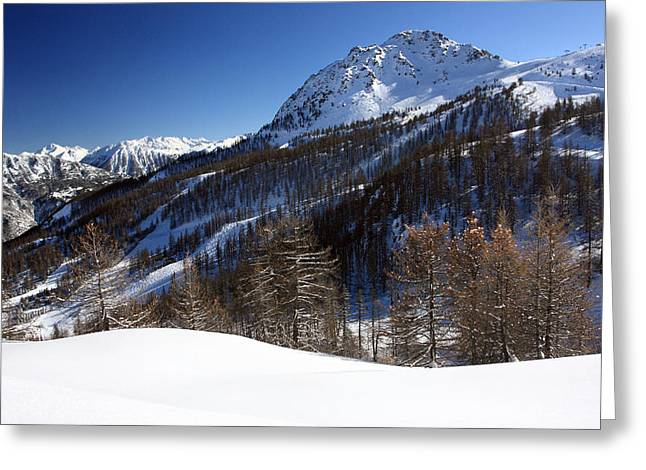 Chevalier Photographs Greeting Cards - Serre Chevalier in the French Alps Greeting Card by Pierre Leclerc Photography