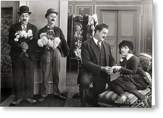 Interior Scene Greeting Cards - Silent Film Still: Couples Greeting Card by Granger