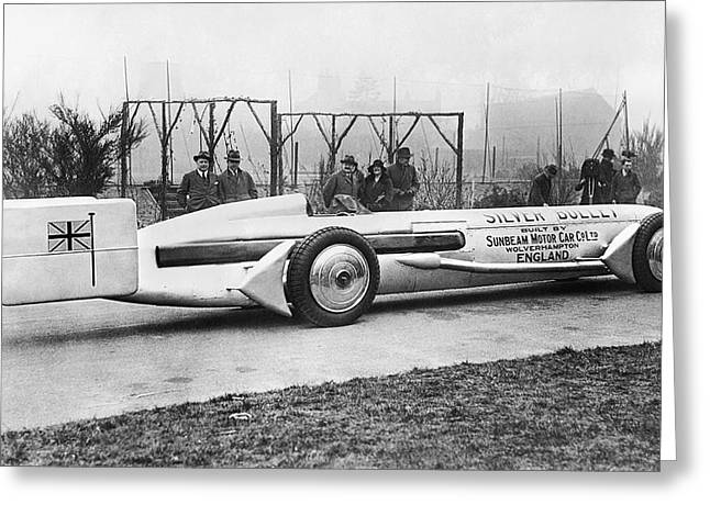 World Speed Record Greeting Cards - Silver Bullet Race Car Greeting Card by Underwood Archives