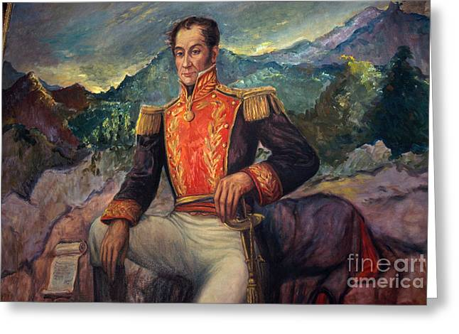 American Politician Greeting Cards - Simón Bolívar, Venezuelan Political Greeting Card by Photo Researchers