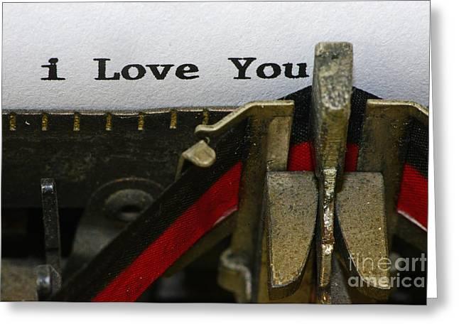 Typewriter Greeting Cards - 3 Simple Words Greeting Card by Paul Ward