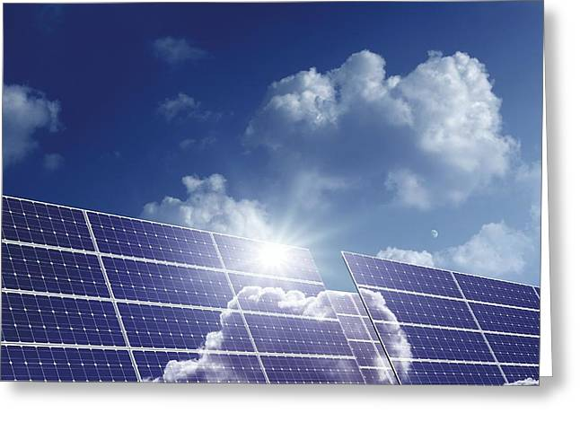21st Greeting Cards - Solar Panels In The Sun Greeting Card by Detlev Van Ravenswaay