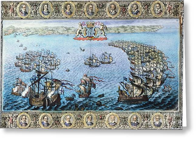 Cartouche Greeting Cards - Spanish Armada, 1588 Greeting Card by Granger