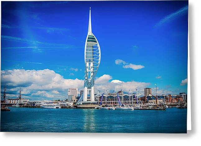 Sailboats Docked Greeting Cards - Spinnaker Tower - Portsmouth England Greeting Card by Marius Mangevicius