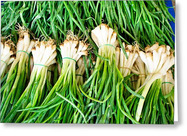 Edible Greeting Cards - Spring onions Greeting Card by Tom Gowanlock