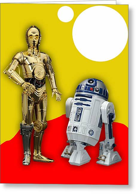 Star Wars C-3po And R2-d2 Greeting Card by Marvin Blaine