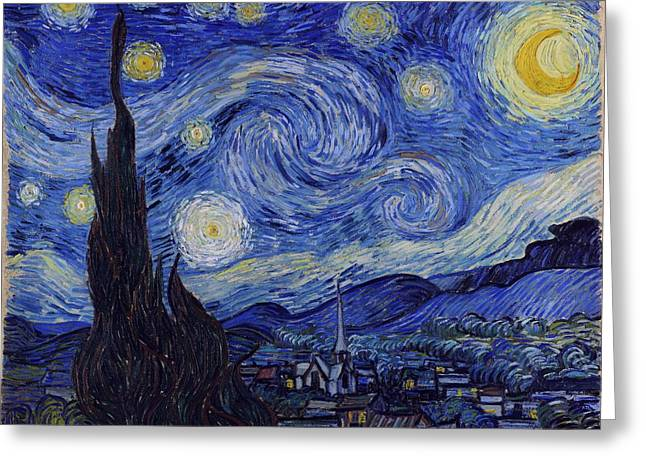 Most Paintings Greeting Cards - Starry Night Greeting Card by Van Gogh