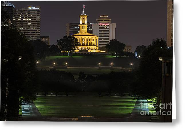 Capital Building In Nashville Tennessee Greeting Cards - State Capital building of Nashville Tennessee at sunrise Greeting Card by Jeremy Holmes