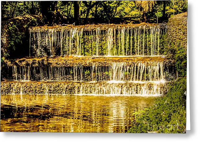 Waterfall Tapestries - Textiles Greeting Cards - 3 Step Waterfall Greeting Card by James Hennis