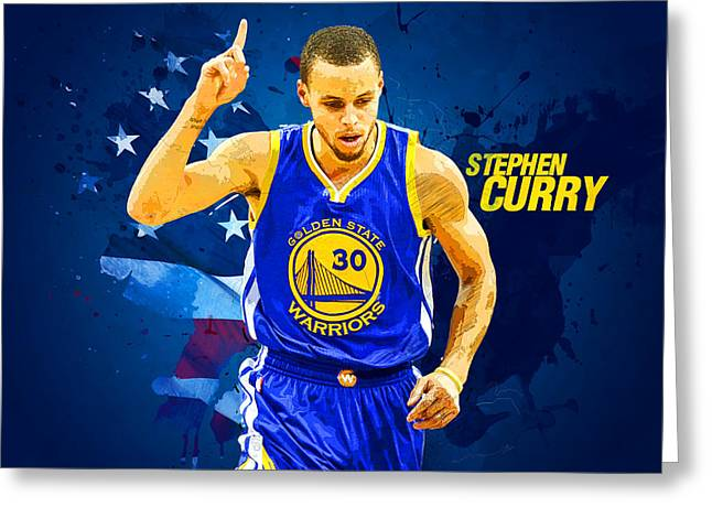 Kobe Bryant Wall Art Greeting Cards - Stephen Curry Greeting Card by Semih Yurdabak