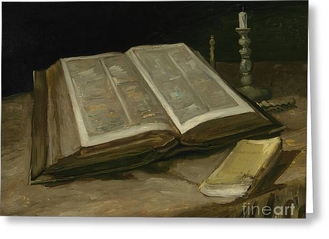 Still Life With Bible Greeting Card by Vincent Van Gogh