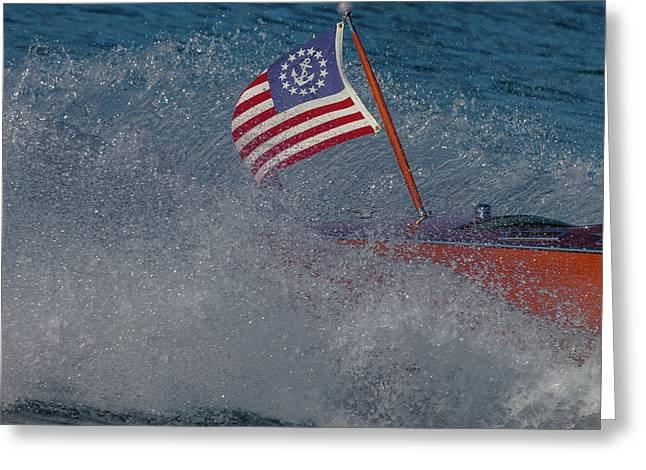 Studio Red White Blue Greeting Card by Steven Lapkin