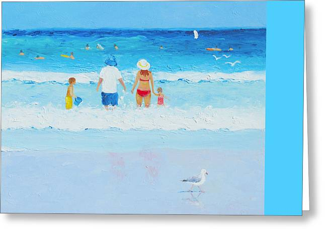 Dog Beach Print Greeting Cards - Sunday at the Beach Greeting Card by Jan Matson