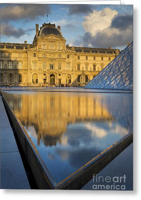 Pyramids Greeting Cards - Sunset at Musee du Louvre Greeting Card by Brian Jannsen