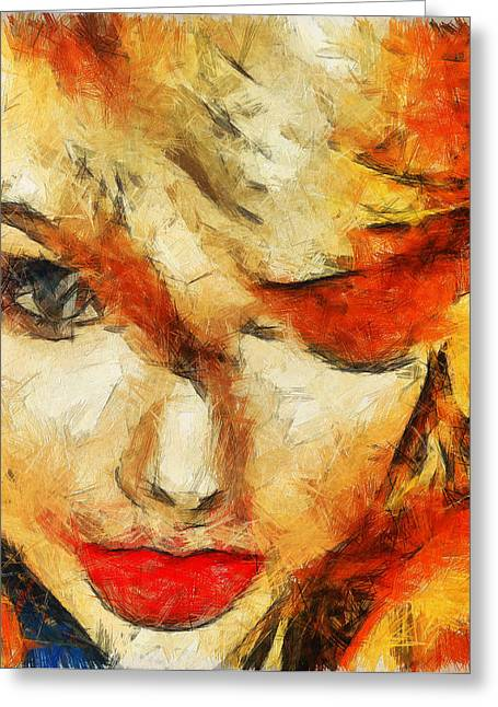 Taylor Swift Paintings Greeting Cards - Taylor Swift Painting On Canvas. Greeting Card by Sir Josef  Putsche