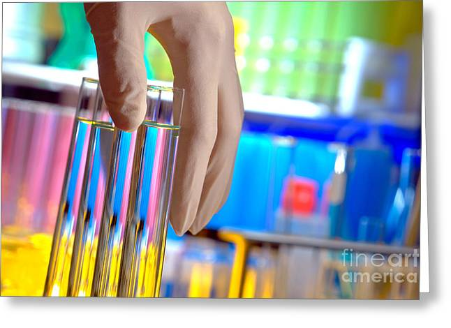 Researcher Greeting Cards - Test Tubes in Science Research Lab Greeting Card by Olivier Le Queinec