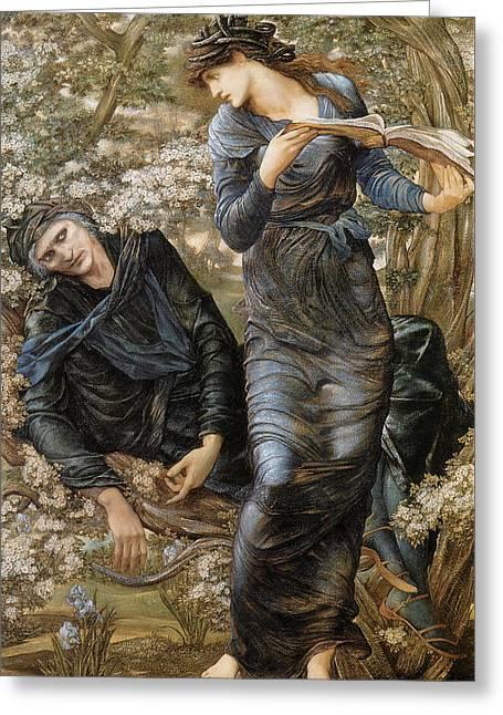 Sorcerer Greeting Cards - The Beguiling of Merlin Greeting Card by Edward Burne-Jones