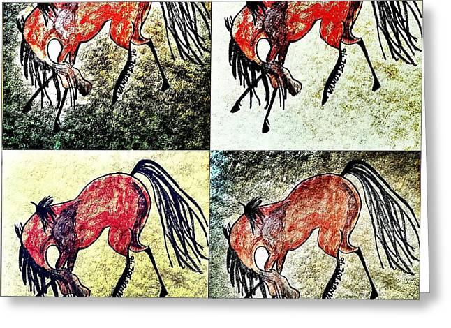 The Dancing Pony Greeting Card by Scott D Van Osdol