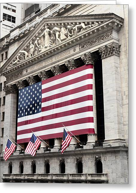 Flag Photographs Greeting Cards - The Facade Of The New York Stock Greeting Card by Justin Guariglia