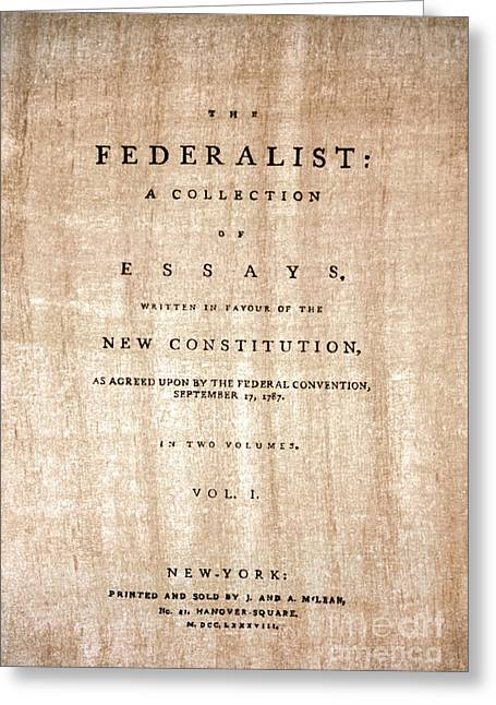The Federalist, 1788 Greeting Card by Granger