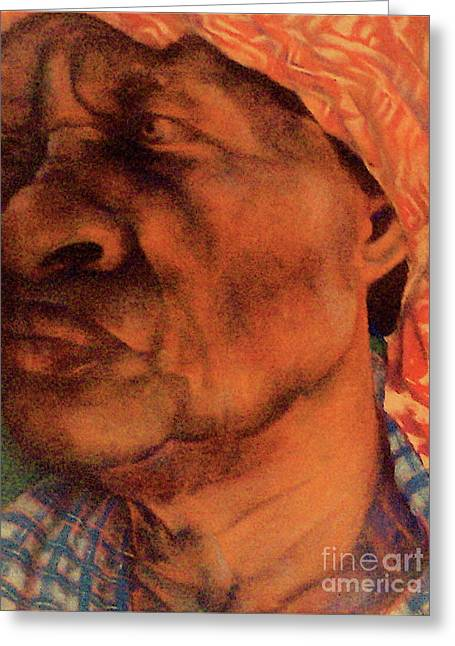 Scarf Pastels Greeting Cards - The Gaze Of Mother Witt Greeting Card by Curtis James