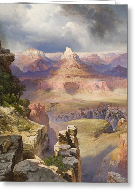 Us National Parks Greeting Cards - The Grand Canyon Greeting Card by Thomas Moran