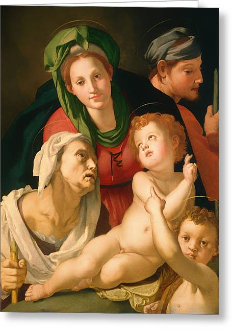 Child Jesus Greeting Cards - The Holy Family Greeting Card by Agnolo Bronzino