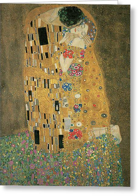 Embracing Greeting Cards - The Kiss Greeting Card by Gustav Klimt