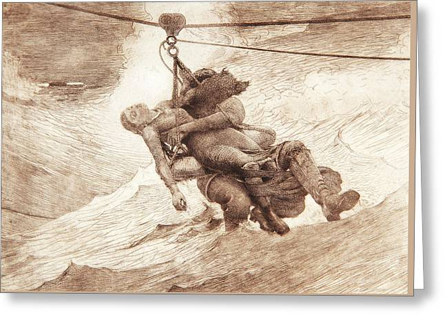 The Life Line Greeting Card by Winslow Homer