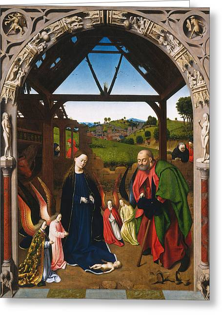 The Nativity Greeting Card by Petrus Christus