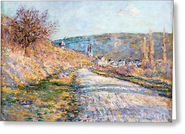 Vintage Painter Greeting Cards - The Road to Vetheuil Greeting Card by Claude Monet