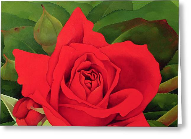 Red Leaves Greeting Cards - The Rose Greeting Card by Myung-Bo Sim
