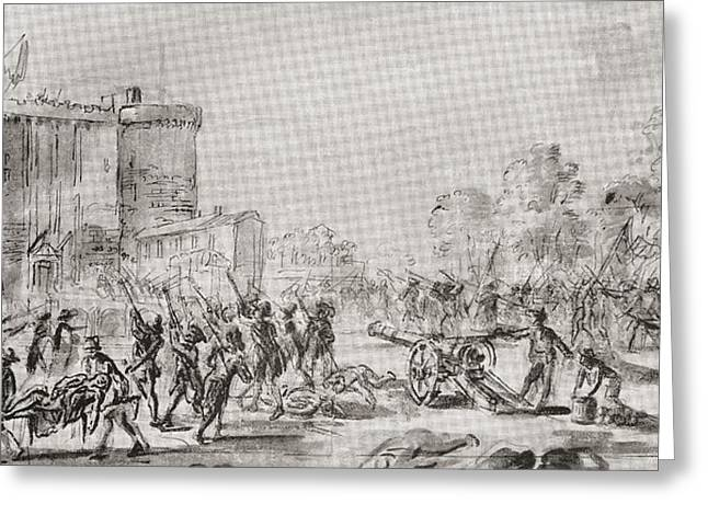 Bastille Greeting Cards - The Storming Of The Bastille, Paris Greeting Card by Ken Welsh