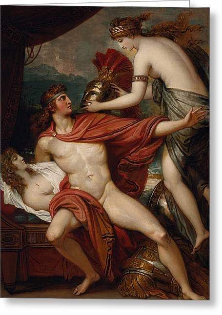 Nude Metal Greeting Cards - Thetis Bringing the Armor to Achilles Greeting Card by Benjamin West