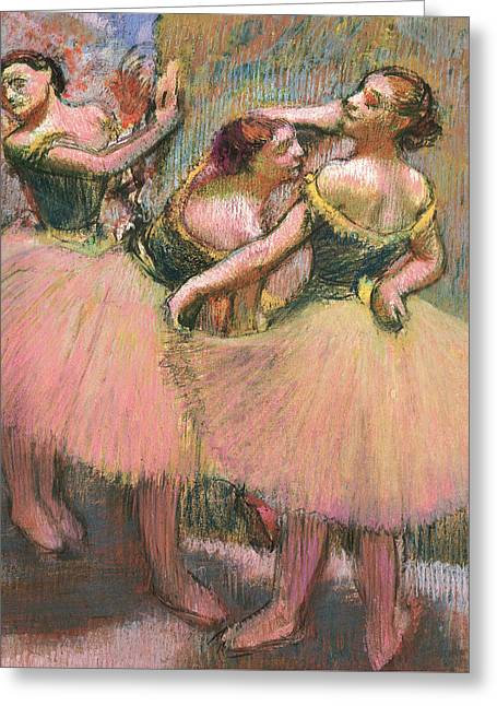 Signature Pastels Greeting Cards - Three Dancers Greeting Card by Edgar Degas