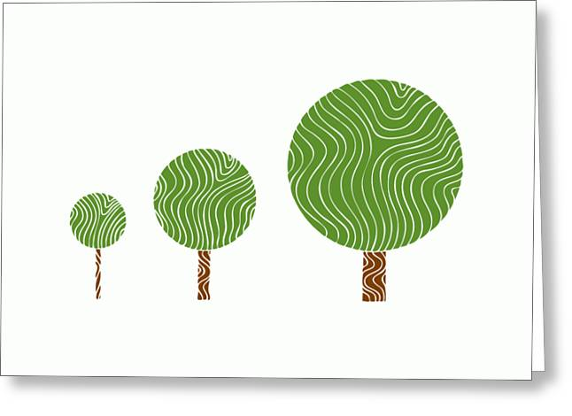 3 Trees Greeting Card by Frank Tschakert
