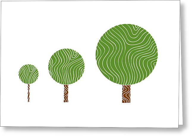 Asia Drawings Greeting Cards - 3 Trees Greeting Card by Frank Tschakert