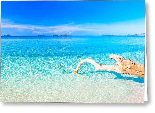 Palawan Greeting Cards - Tropical beach panorama Greeting Card by MotHaiBaPhoto Prints