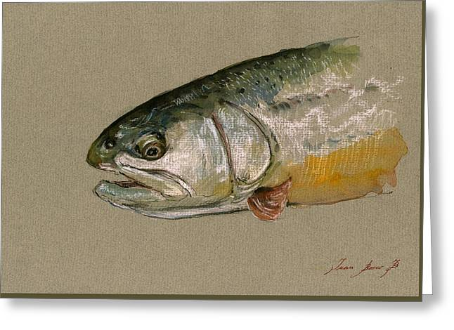"""rainbow Trout"" Greeting Cards - Trout watercolor painting Greeting Card by Juan  Bosco"