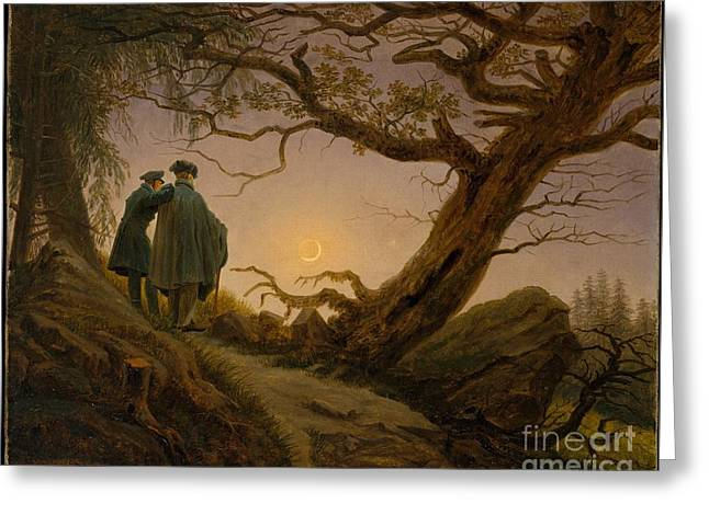 Two Men Greeting Cards - Two Men Contemplating the Moon Greeting Card by Celestial Images