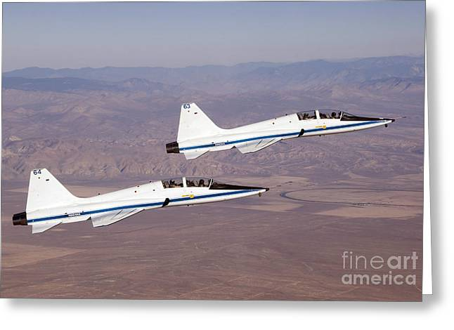 Aeronautics Greeting Cards - Two T-38a Mission Support Aircraft Fly Greeting Card by Stocktrek Images