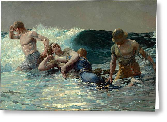 Undertow Greeting Card by Winslow Homer