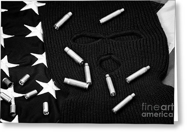 Balaclava Greeting Cards - Various Empty Shell Casings Lying On Balaclava And United States Of America Flag Greeting Card by Joe Fox