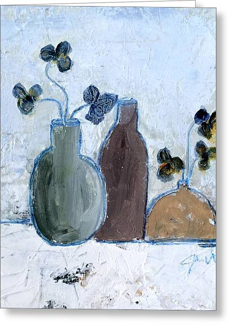 Interior Still Life Mixed Media Greeting Cards - 3 Vases Greeting Card by Judy Jacobs