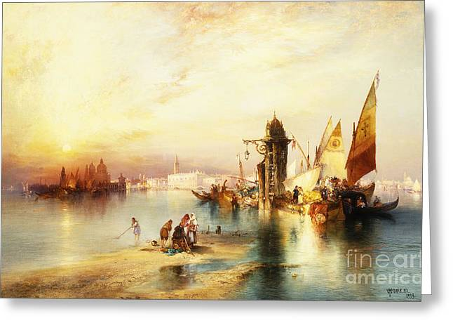 Natural Space Greeting Cards - Venice Greeting Card by Thomas Moran