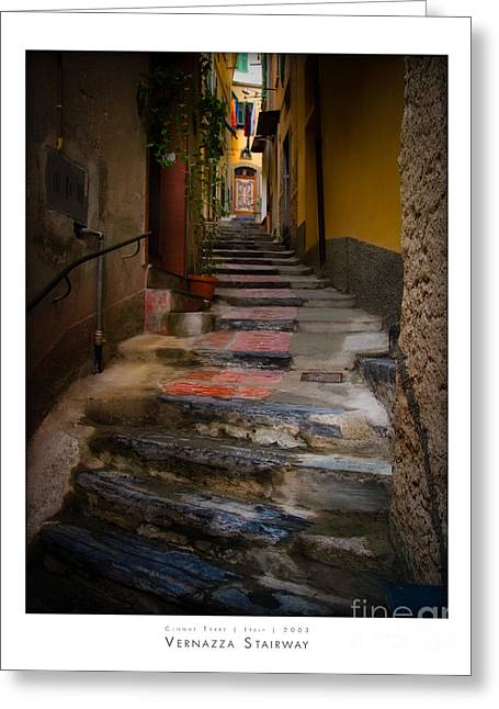 Yellow Door Greeting Cards - Vernazza Stairway Greeting Card by Doug Sturgess