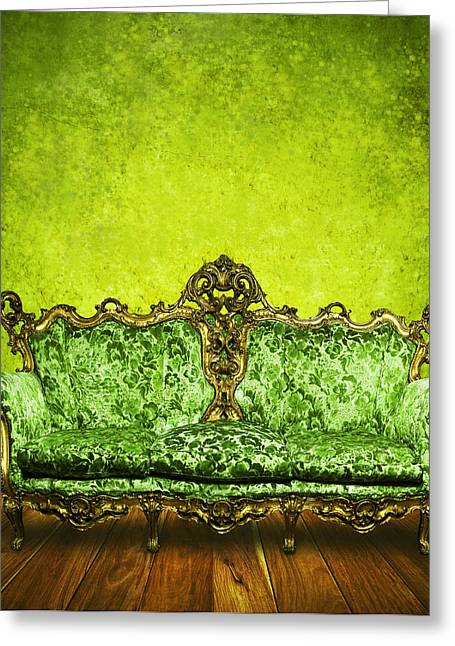 Empty Chairs Greeting Cards - Victorian Sofa In Retro Room Greeting Card by Setsiri Silapasuwanchai